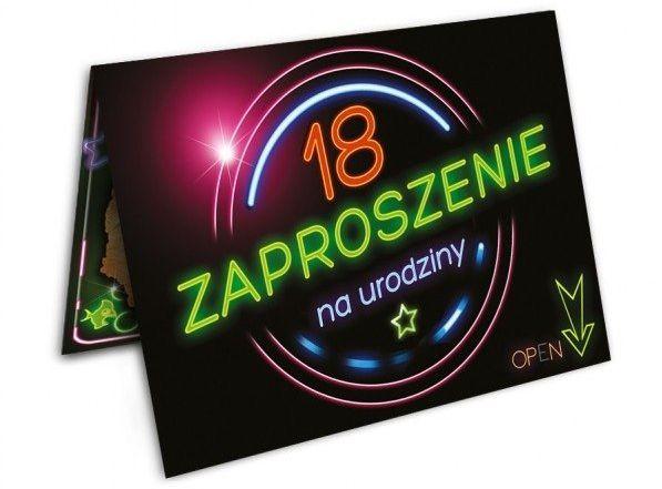Zaproszenie na 18 urodziny z kopertą 1szt. ZX8901