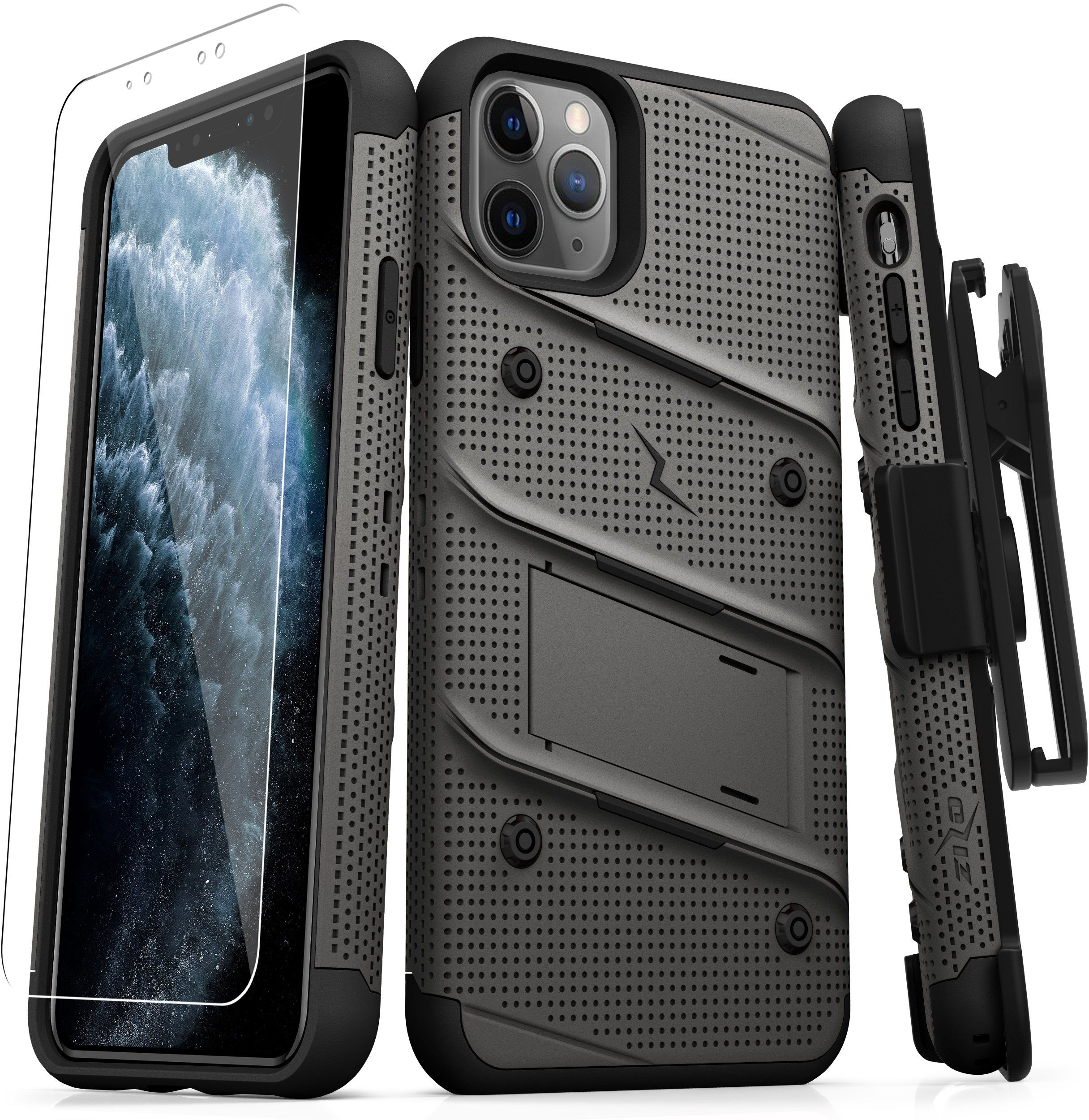 Zizo Bolt Cover Etui Pancerne do iPhone 11 Pro ze Szkłem 9H na Ekran + Podstawka & Uchwyt do Paska (Gun Metal Gray & Black)