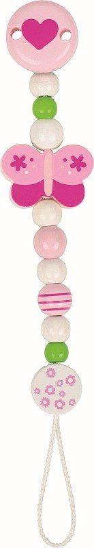 Różowy motylek - drewniany łańcuszek do smoczka, 764200- Heimess, zabawki dla niemowlaków