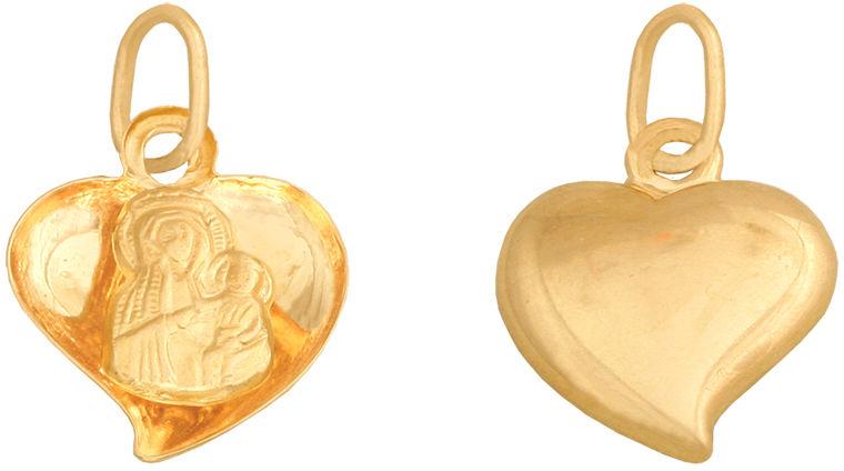 Złoty medalik 585 wypukłe serduszko Matka Boska 0,50 g
