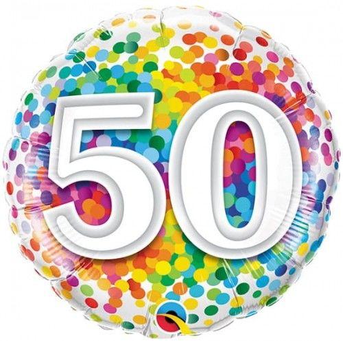 """Balon foliowy 18"""" na 50 urodziny """"50 Confetti"""""""