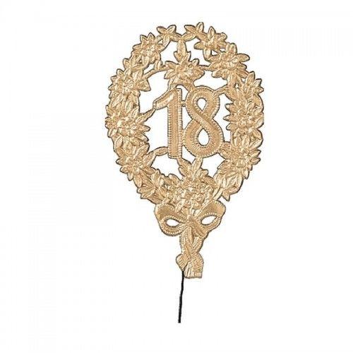 Topper, dekoracja urodzinowa na 18 urodziny, złota (8x12 cm)