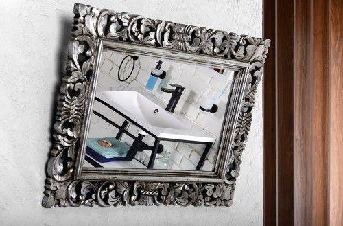 Lustro łazienkowe rama drewniana ręcznie rzeźbiona 40x70 cm antyczne srebro