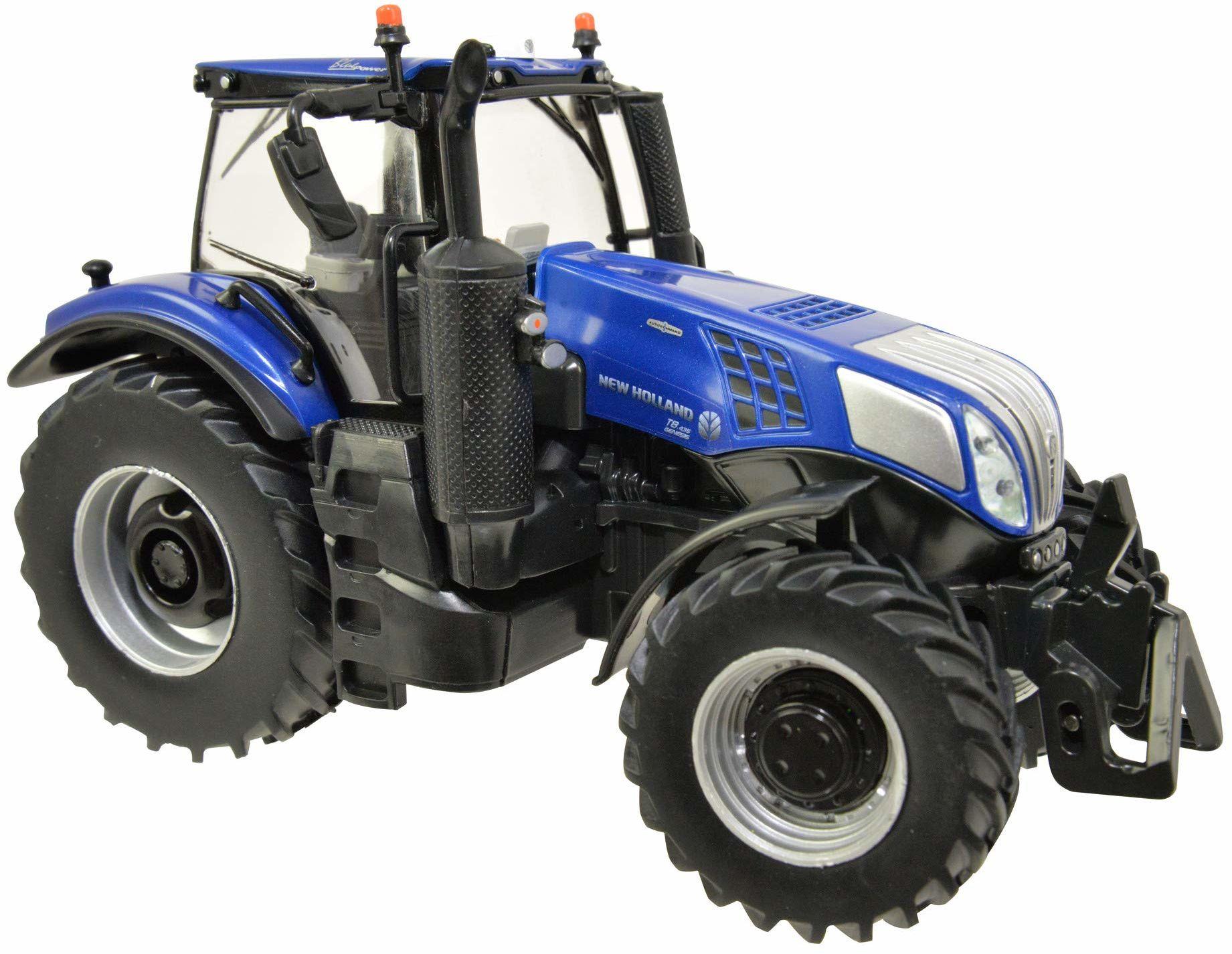 """TOMY Britains New Holland T8.435"""", dziecięcy traktor z regulacją wysokości tylnej części i składanymi lusterkami, traktor z przodu ciężarem, trener do zabawy i zbierania, od 3 lat"""