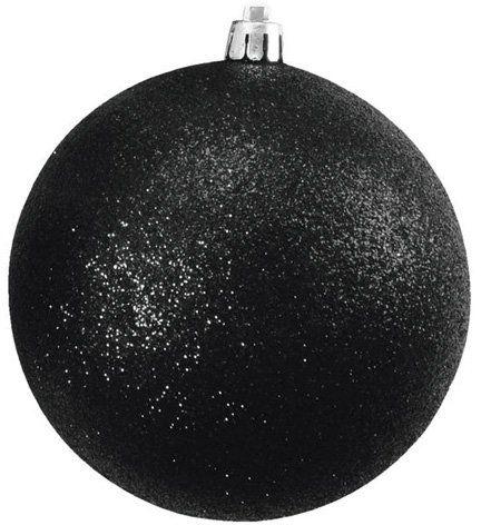 Europalms Decoball czarny brokat, 10 cm