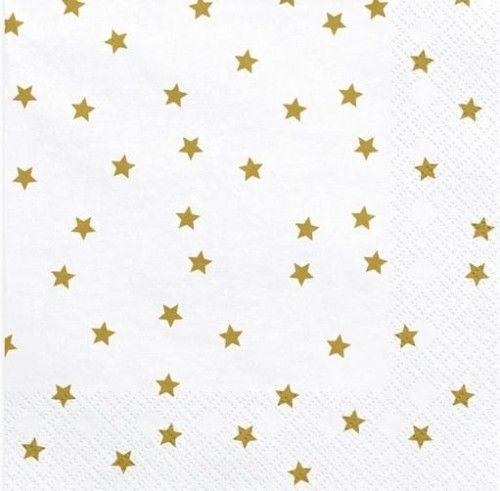 Serwetki papierowe Białe w złote gwiazdki