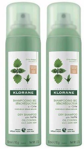 Klorane seboregulujący szampon suchy z wyciągiem z pokrzywy do włosów tłustych 2x 150 ml