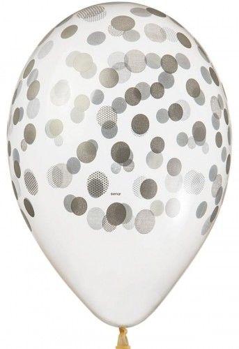 "Balony Premium 13"" Transparentne w srebrne grochy, konfetti"