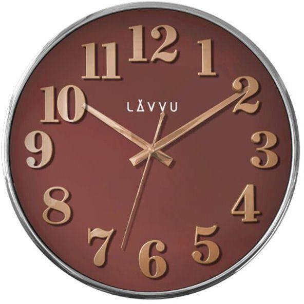 Zegar ścienny Lavvu LCT1163 32 cm Rose Gold and Brown - odcienie brązowego różowe złoto