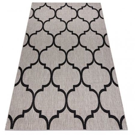 DYWAN SZNURKOWY SIZAL FLOORLUX 20608 , koniczyna marokańska, trellis srebrny / czarny 60x110 cm
