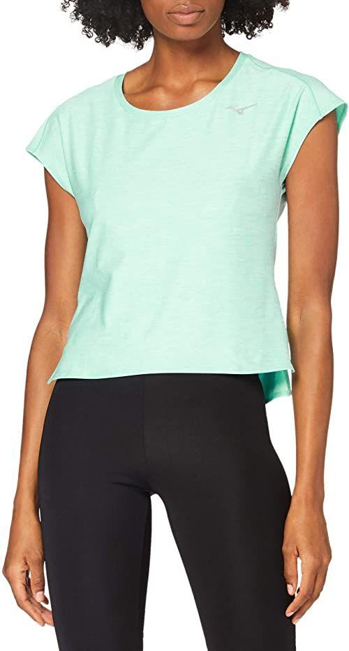 Mizuno Damski stylowy t-shirt, szkło plażowe, XS