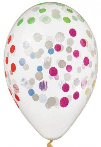 """Balony Premium 13"""" Transparentne w kolorowe grochy, konfetti"""