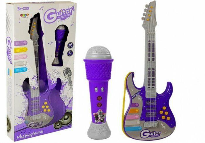 Gitara Elektryczna z Mikrofonem Fioletowa