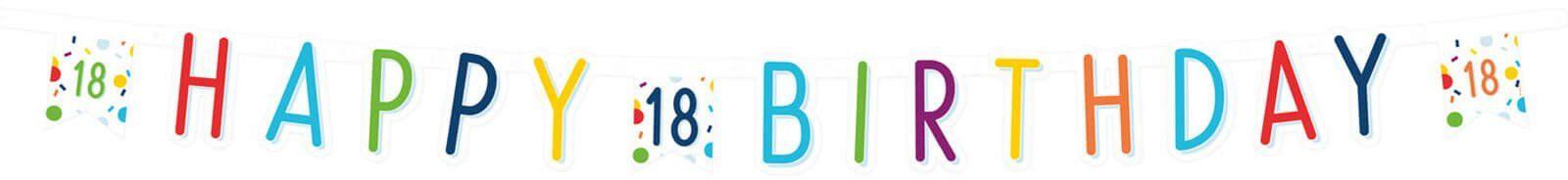 Baner Happy Birthday na osiemnastkę Konfetti - 180 cm - 1 szt.