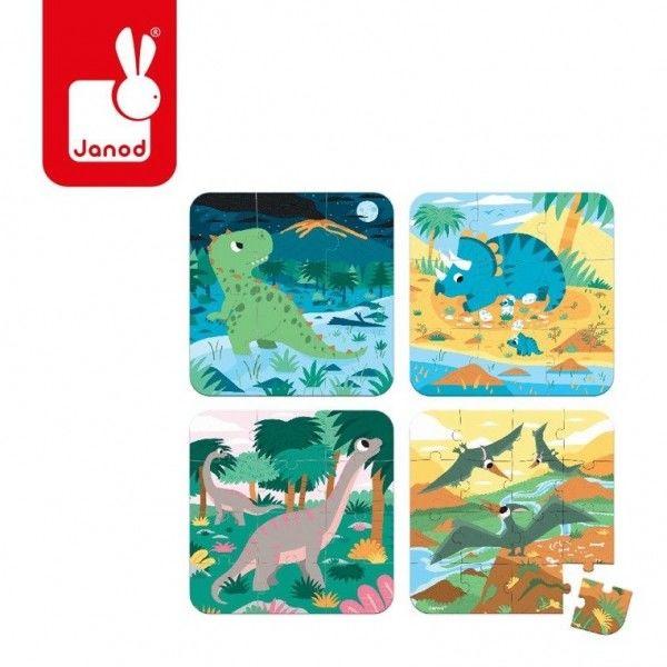 Janod - Puzzle Progresywne Dinozaury 4 Układanki 6, 9, 12 i 16 Elementów 3 Lata +