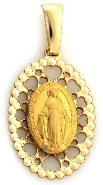 Złoty owalny medalik 333 Matka Boska z ażurem 0,68g