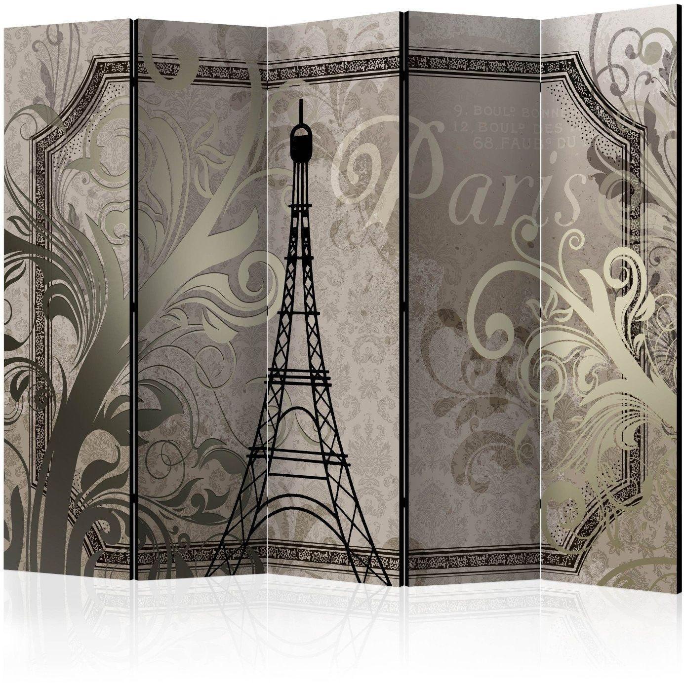 Parawan 5-częściowy - vintage paris - złoty ii [room dividers]