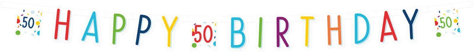 Baner Happy Birthday na pięćdziesiątkę Konfetti - 180 cm - 1 szt.