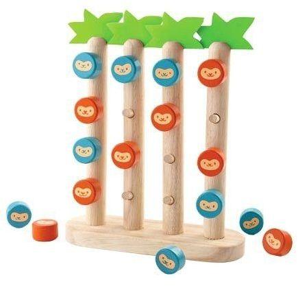 Drewniana gra logiczna, cztery wygrywają, Małpy na palmach, PLTO-4612-Plan Toys, gry drewniane