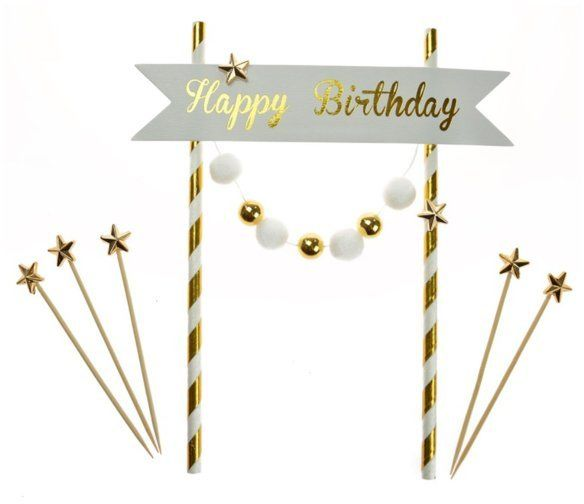 Topper na tort Happy Birthday złoty 20cm K7690ZŁO