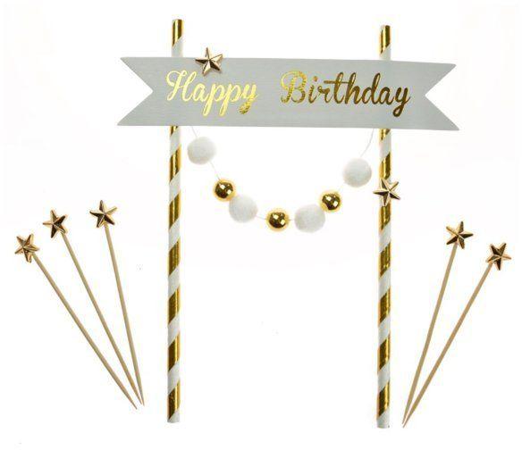 Topper na tort Happy Birthday 20cm K7690ZŁO