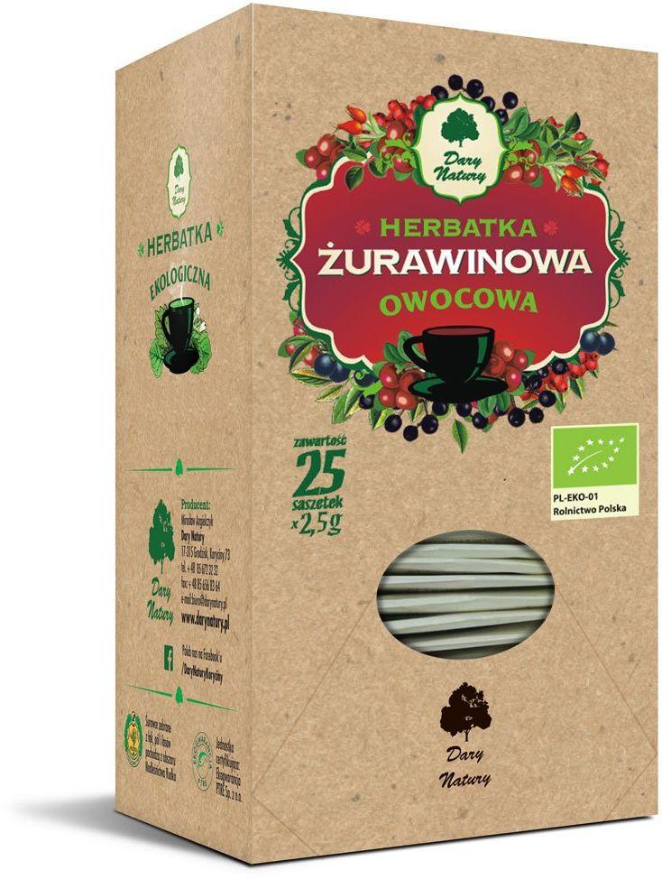 Herbatka Żurawinowa EKO 25x2,5 g Dary Natury