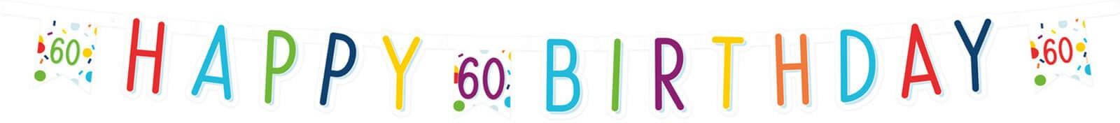 Baner Happy Birthday na sześćdziesiątkę Konfetti - 180 cm - 1 szt.