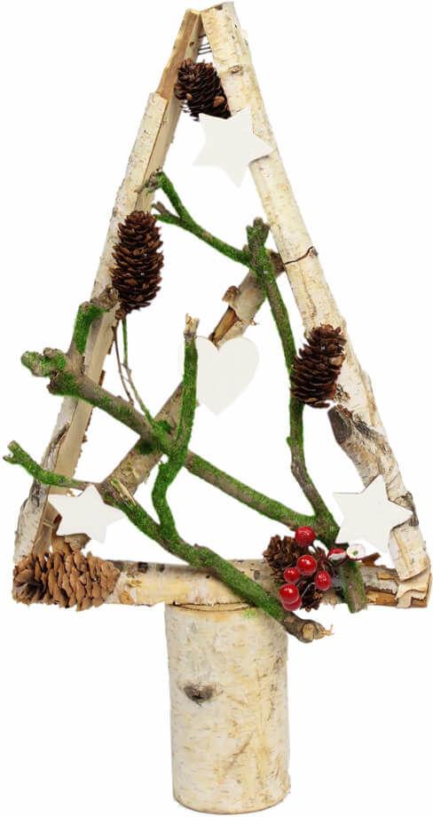 Drewniana choinka bożonarodzeniowa z dekoracjami biała - 42 cm - 1 szt.