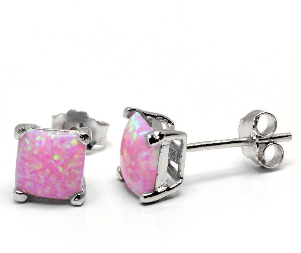 Srebrne Kolczyki Kwadraty z Różowym Opalem - Kolczyki