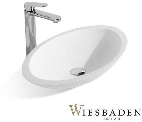 Umywalka nablatowa 59x35 cm KIM Solid Surface, biała