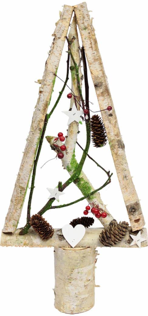 Drewniana choinka bożonarodzeniowa z dekoracjami biała - 52 cm - 1 szt.