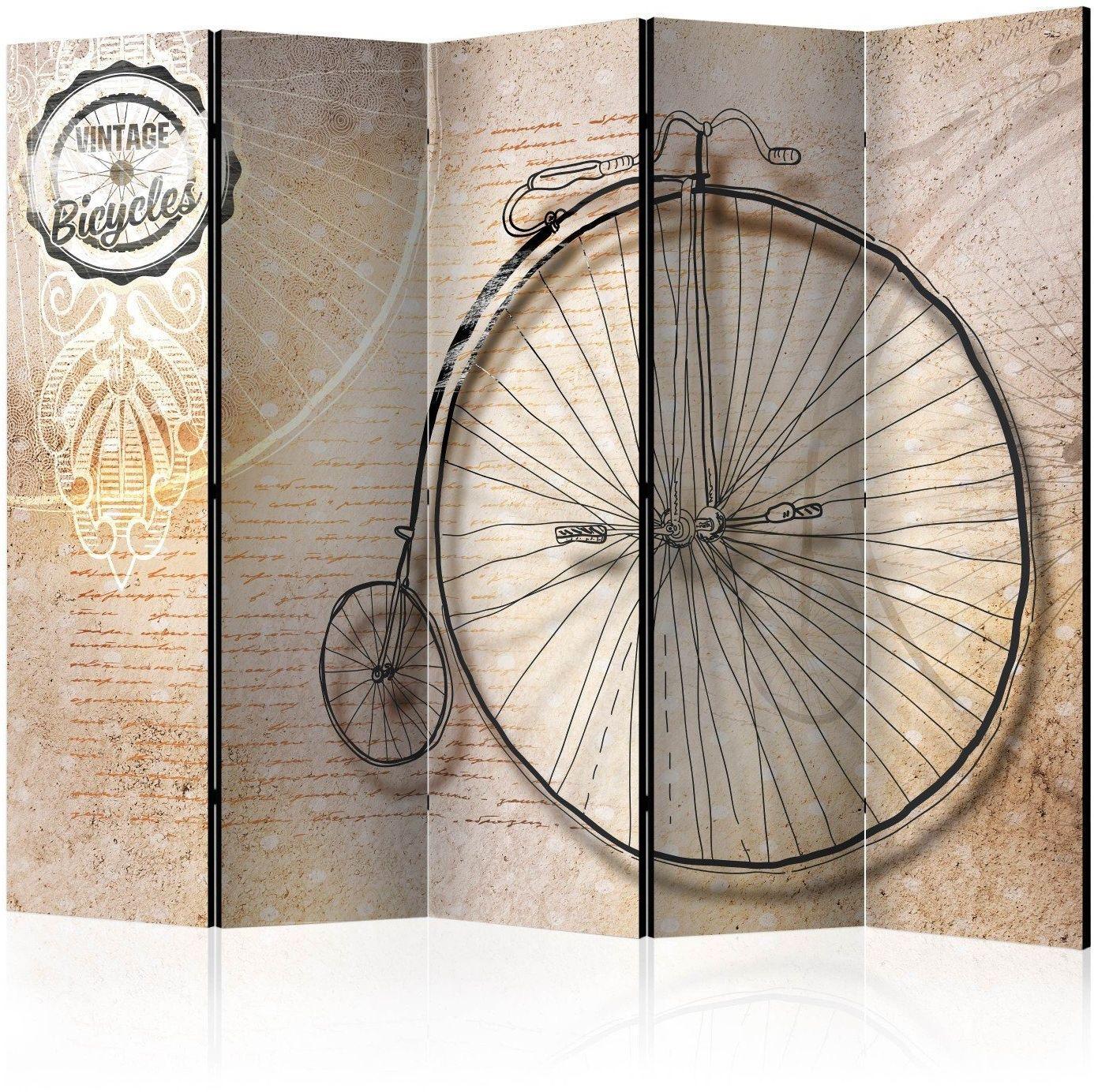 Parawan 5-częściowy - vintage bicycles - sepia ii [room dividers]