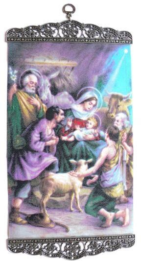 Ikona tkana Boże Narodzenie Szopka
