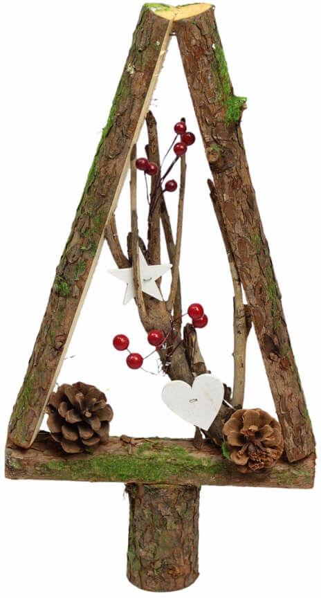 Drewniana choinka bożonarodzeniowa z dekoracjami brązowa - 38,5 cm - 1 szt.