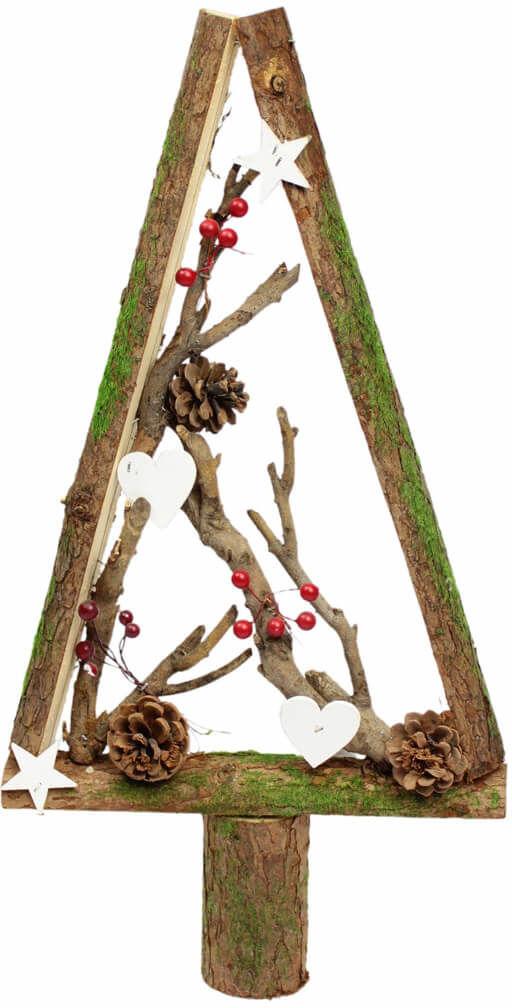 Drewniana choinka bożonarodzeniowa z dekoracjami brązowa - 50 cm - 1 szt.