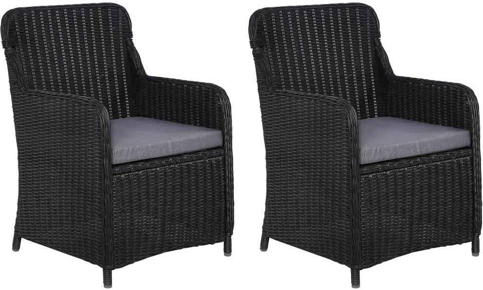 Fotele polirattanowe ogrodowe Grafton 2 szt - czarne