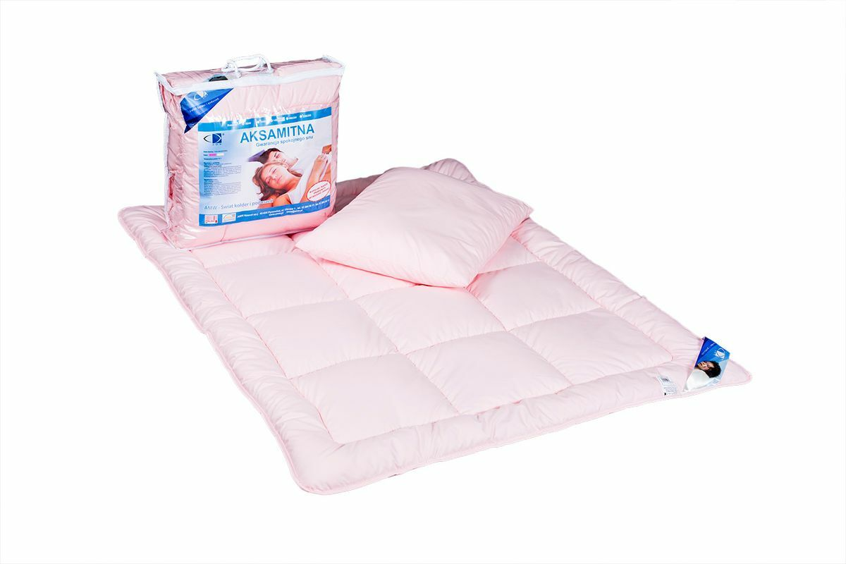 Kołdra dla dzieci 90x120 poduszka 40x60 Aksamitna różowa 100% microfibra AMW