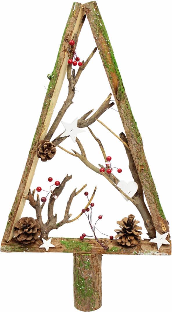 Drewniana choinka bożonarodzeniowa z dekoracjami brązowa - 58,5 cm - 1 szt.