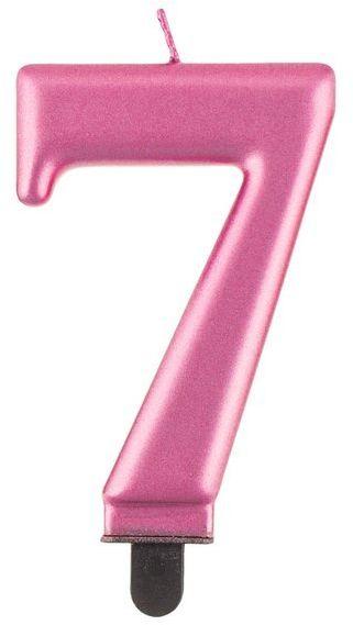 Świeczka cyfra 7 różowa metaliczna 1 sztuka PF-SCR7