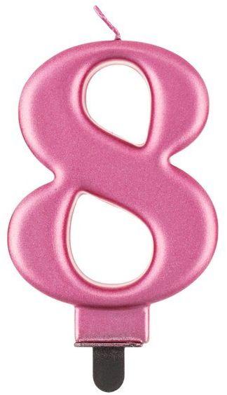 Świeczka cyfra 8 różowa metaliczna 1 sztuka PF-SCR8