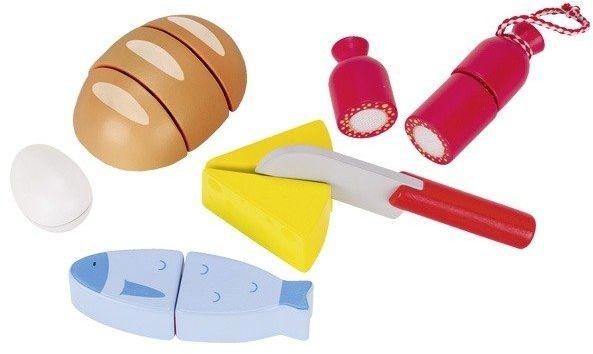 Drewniany zestaw do krojenia z chlebem, 51563-Goki, zabawy w kuchnie dla dzieci