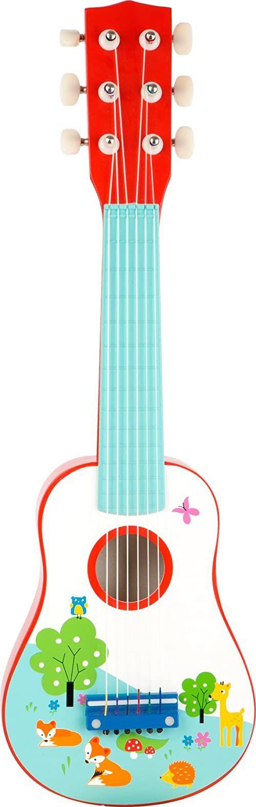 small foot 10725 drewniana gitara dla dzieci, pierwsza zabawka muzyczna, promuje umiejętności muzyczne, od 3 lat