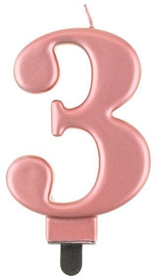 Świeczka cyfra 3 metaliczna różowe złoto 1 sztuka PF-SCRZ3