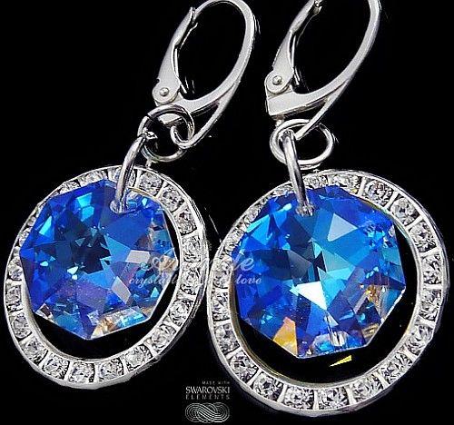 Kryształy ozdobne kolczyki BLUE AURORA SREBRO