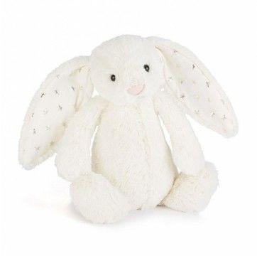 Jellycat - Przytulanka Króliczek Bashful Bunny Kremowy Gwiazdy 18cm