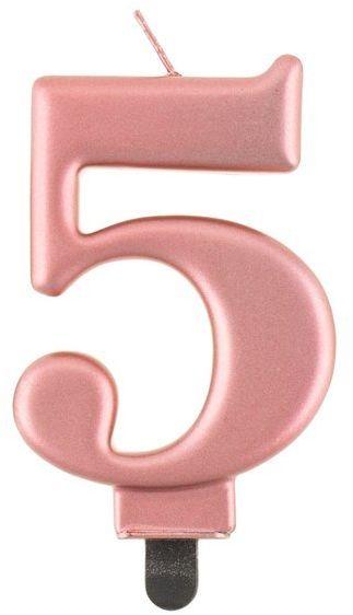 Świeczka cyfra 5 metaliczna różowe złoto 1 sztuka PF-SCRZ5