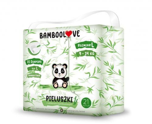 Pieluchy z włóknem bambusowym rozmiar L 9-14 kg (21 szt) Bamboolove