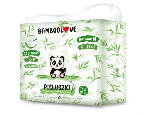 Pieluchy z włóknem bambusowym rozmiar M 6-11 kg (24 szt) Bamboolove