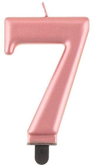 Świeczka cyfra 7 metaliczna różowe złoto 1 sztuka PF-SCRZ7