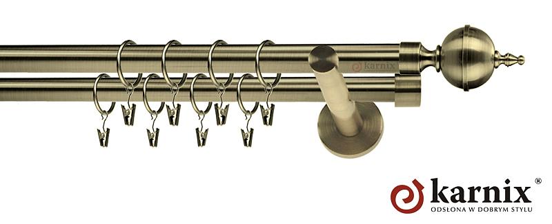 Karnisze nowoczesne NEO podwójny 19/19mm Roxy antyk mosiądz